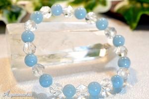 アクアマリンとスターカット水晶のブレスレット