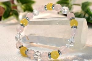 アラゴナイト・ローズクォーツ・スターカット水晶にキラキラ光るメタルパーツを使用したお洒落なブレスレット