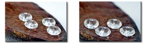 パワーストーンブレスレットの選べる2種類の水晶ボタン