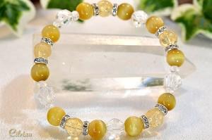 シトリン・ゴールデンタイガーアイ・スターカット水晶にキラキラ光るオシャレなメタルパーツを使用したブレスレット